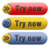 Try now button or icon free trial