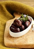 ripe black kalamata olives