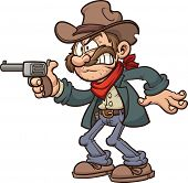 Cartoon gunslinger cowboy. Vector clip art illustration with simple gradients. All in a single layer