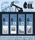 Oil Industry Infographic Elements. Plus Icon Set. Opportunity to Highlight any Country On the World