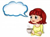 Illustration of a woman having her cup of coffee with an empty cloud template on a white background
