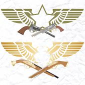 stock photo of muskets  - Two old pistol on abstract wings with the star - JPG