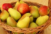 Basket With Pears And Apples
