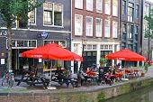 Street Cafe In Amsterdam. Netherlands