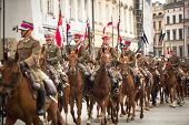 KRAKOW, POLAND - SEP 22: Unidentified participants feast of the Polish cavalry in historical city ce