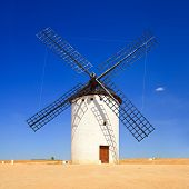 Windmill And Blue Sky. Alcazar De San Juan, Castile La Mancha, Spain