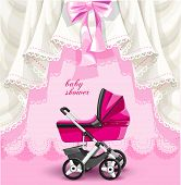Pink baby shower card with baby carriage
