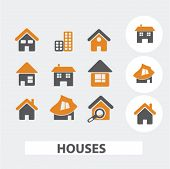 cute houses icons set, vector