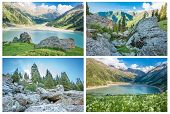 Collage Of Panorama Of Spectacular Scenic Big Almaty Lake ,tien Shan Mountains In Almaty, Kazakhstan