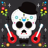 Mexican skull  dia de los muertos illustration postcard cover design background in vector
