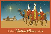 Three Wise Men Following the Bethlehem Star - Christmas Greeting Card with a scene from New Testament