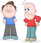 foto of pelade  - Cartoon bald man looking angrily to haired man - JPG