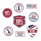 UK stamps and badges