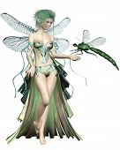 stock photo of faerie  - Fairy with green hair and dress and dragonfly wings with a green dragonfly landing on her hand - JPG