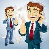 Cute businessman reported good news on the phone and  shows all