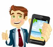Cute businessman in a suit shows a photo resort on the phone
