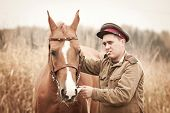 Red Army Sergeant And A Horse