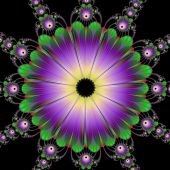 Floral Roundel In Green And Purple