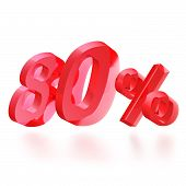 Sales concept: 80% off sign on white