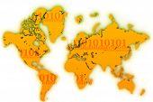 World Map Flat Digits2