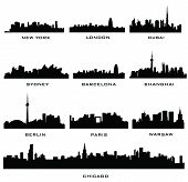 silhouette cities poster