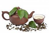 green tea in cup and pot isolated