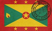 Welcome to Grenada flag with passport stamp