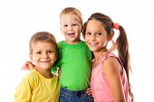 Happy family with three kids