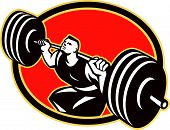 Weightlifter Lifting Barbells Cross-fit Retro
