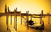 picture of gondola  - Gondola near and San Giorgio di Maggiore church in the background - JPG