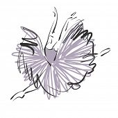 art sketched beautiful young ballerina with long tutu in fly dance. Vector version is also in my gal
