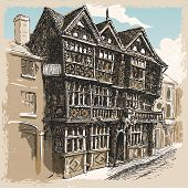 Vintage View Of Feathers Hotel At Ludlow In England