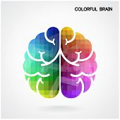 foto of left brain  - Creative colorful left brain and right brain Idea concept background  - JPG
