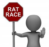 Rat Race Stop Sign Shows Stopping Hectic Work Competition