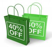 Forty Percent Off On Shopping Bags Shows 40 Bargains