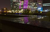 Night view from Moskva River Embankment on the Moscow City complex