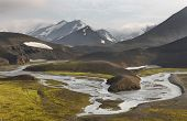 Iceland. South Area. Fjallabak. Volcanic Landscape With River. poster