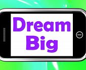 Dream Big On Phone Means Ambition Future Hope