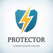 Flash And Shield Symbol Protect icon Template