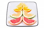 stock photo of sweetie  - Grapefruit orange sweetie and lemon - JPG