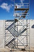 stock photo of scaffolding  - aluminum scaffolding at construction site scaffold - JPG
