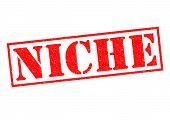foto of niche  - NICHE Rubber Stamp over a white background - JPG
