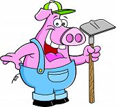 pic of hoe  - Cartoon illustration of a pig in overalls holding a hoe - JPG