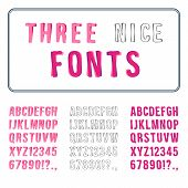 Hand Drawn Font Set. Alphabet with Digits. Vector