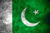 pic of pakistani flag  - flag of Pakistan or Pakistani banner on vintage metal texture - JPG
