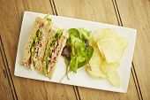 Sandwich With Salad And Potato Chips