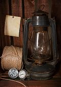 Old Kerosene Stove, Clock And A Roll Of Twine
