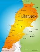 Detailed  vector color map of Lebanon country