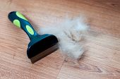 A Pile Of Dog Hair With A Slicker Brush