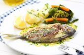 image of turnip greens  - very fresh seabream fish grilled with turnip greens  - JPG